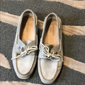 Women's Gray Sperry Top-sider leather shoes 9.5m